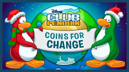 Celebrate the holidays in Club Penguin with Coins for Change! Raise money by baking cookies, playing games or holding a concert in your igloo!